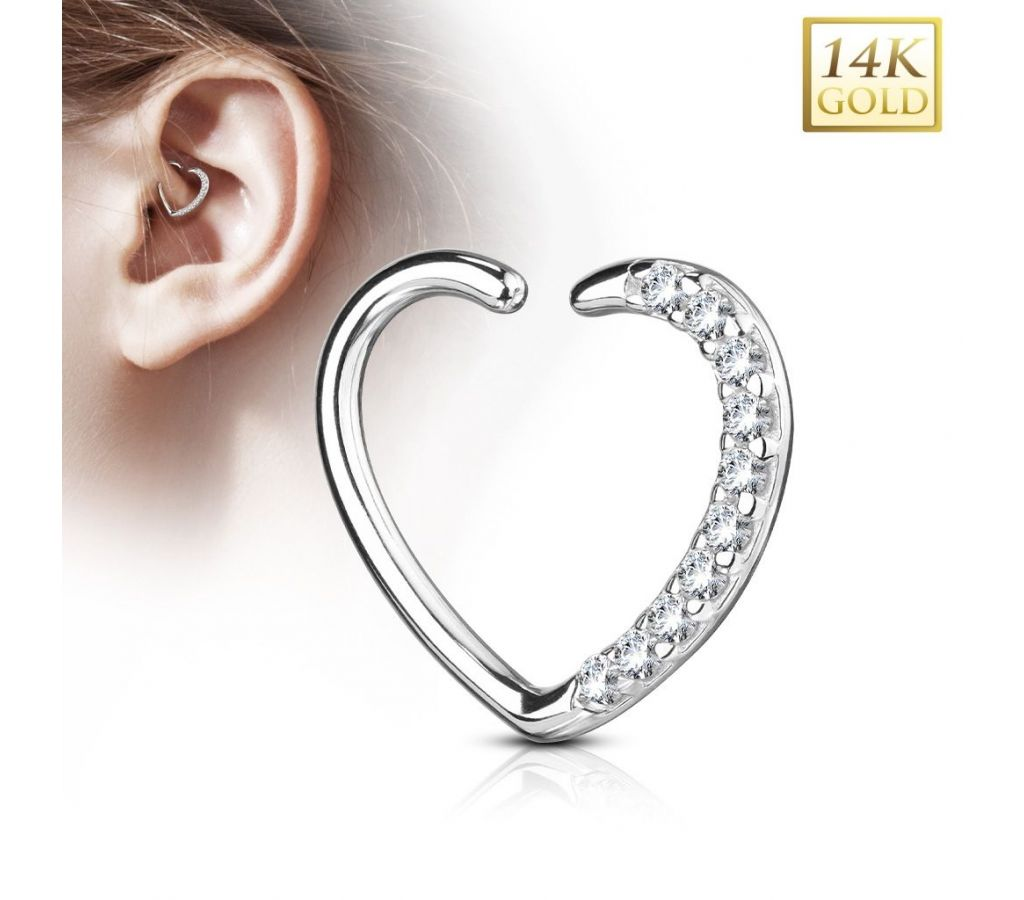 8cc98694a ... Zlatý cartilage piercing do ucha - srdíčko, Au 585/1000 [2]
