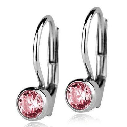 Stříbrné náušnice se světle růžovými kamínky 4 mm