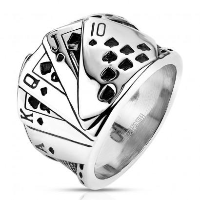 Pánský ocelový prsten s kartami (62)