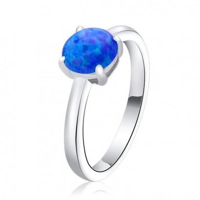 Stříbrný prsten s modrým opálem (2,43 g, 56)