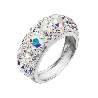 Stříbrný prsten s krystaly Swarovski ab efekt 35031.2