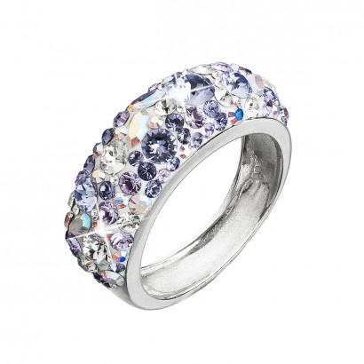 Stříbrný prsten s krystaly Swarovski fialový 35031.3