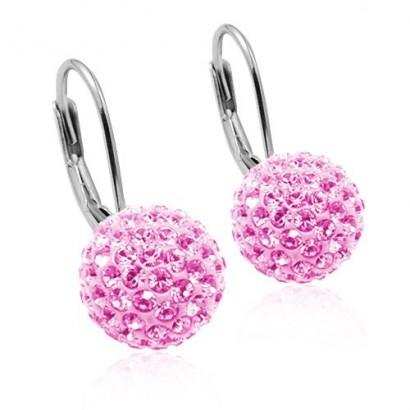 Stříbrné náušnice koule 8 mm s krystaly Crystals from Swarovski® Light Rose