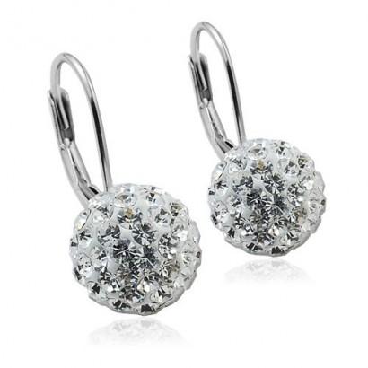Stříbrné náušnice koule 8 mm s krystaly Crystals from Swarovski® Crystal