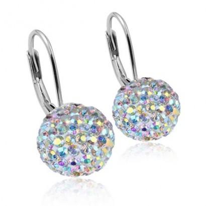 Stříbrné náušnice koule 8 mm s krystaly Crystals from Swarovski® AB