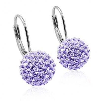 Stříbrné náušnice koule 8 mm s krystaly Crystals from Swarovski® Light Amethyst