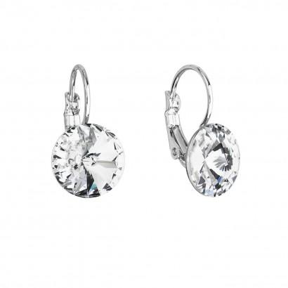Náušnice bižuterie s Preciosa krystaly bílé kulaté 51002.1