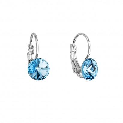 Náušnice bižuterie s Preciosa krystaly modré kulaté 51031.3 aqua