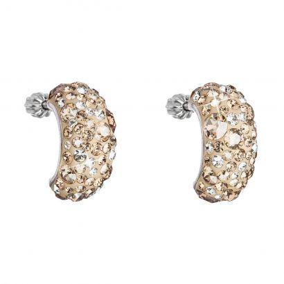 Stříbrné náušnice visací s krystaly Swarovski zlatý půlkruh 31164.5