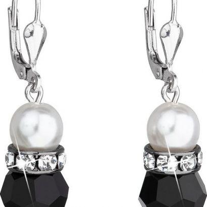 Stříbrné náušnice visací s krystaly Swarovski bílé,černé kulaté 31141.3