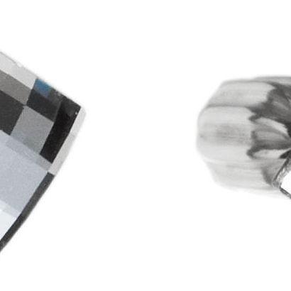 Stříbrné náušnice pecka s krystaly čirý čtverec 31108.1