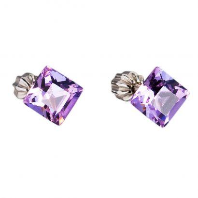 Stříbrné náušnice pecka s krystaly Swarovski fialový čtverec 31065.3