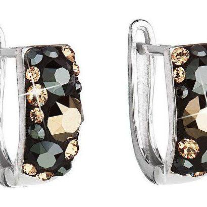 Stříbrné náušnice visací s krystaly Swarovski mix barev půlkruh 31123.4 colorado