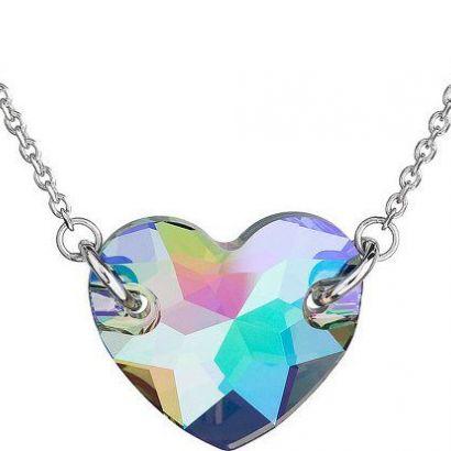 Stříbrný náhrdelník s krystaly Swarovski zeleno-fialové srdce 32021.5