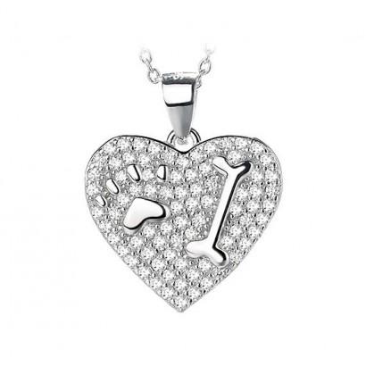 Stříbrný přívěsek - srdce s tlapičkou