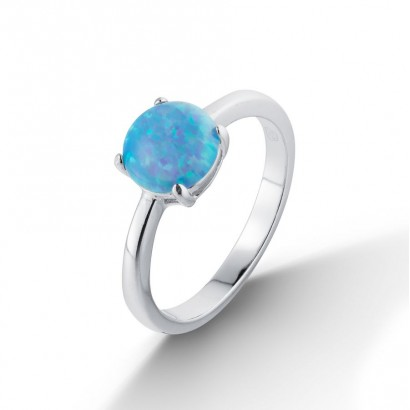 Stříbrný prsten s opálem (2,43 g, 54)