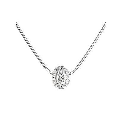 Stříbrný náhrdelník s Preciosa krystaly bílý 32081.1