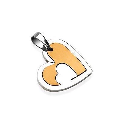 Ocelový přívěsek - srdce zlaté
