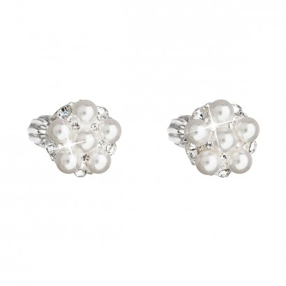 Stříbrné náušnice pecka s krystaly Swarovski bílé kulaté 31336.9