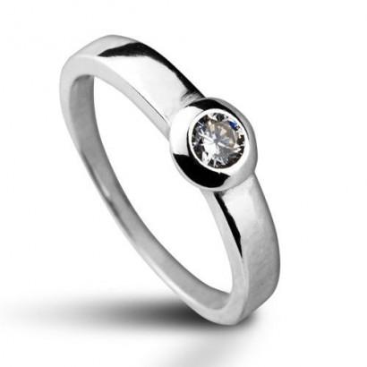 Stříbrný prsten se zirkonem (1,72 g, 51)