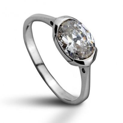 Stříbrný prsten se zirkonem (1,77 g, 56)
