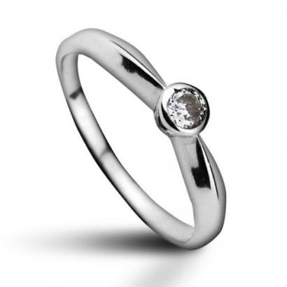 Stříbrný prsten se zirkonem (1,35 g, 50)