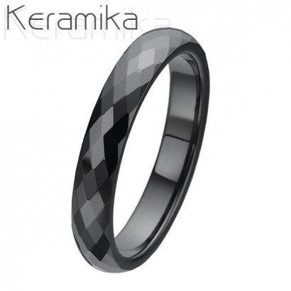 Keramický prsten černý, šíře 4 mm (55)