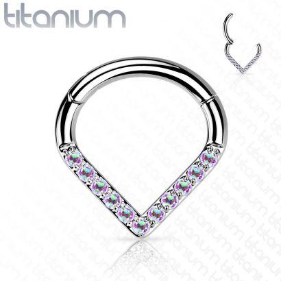 Piercing se zirkony - septum / helix / cartilage TITAN, 1,2 x 8 mm