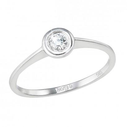 Zlatý prsten 85007.1 bílé zlato s briliantem