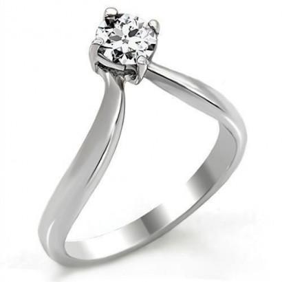 Ocelový prsten se zirkonem špička (60)