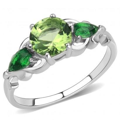 Ocelový prsten se zelenými kameny (60)