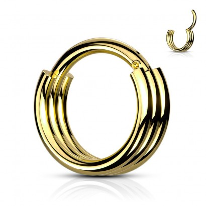 Zlacený piercing kruh segment (1,2 x 10 mm)