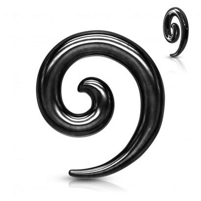 Ocelový roztahovák do ucha - spirála černá (2 mm)