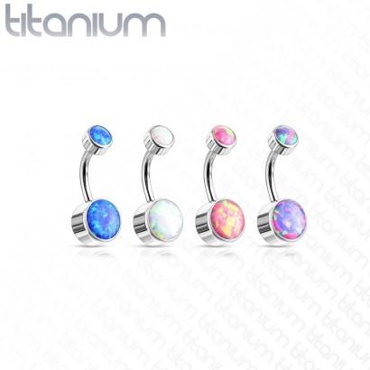 Piercing do pupíku - TITAN, opál (modrá)