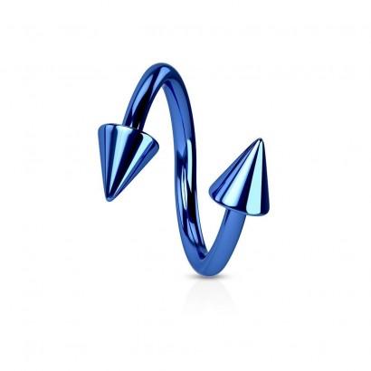 Piercing spirála modrá 1,2 x 10 mm