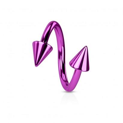 Piercing spirála světle fialová 1,2 x 10 mm
