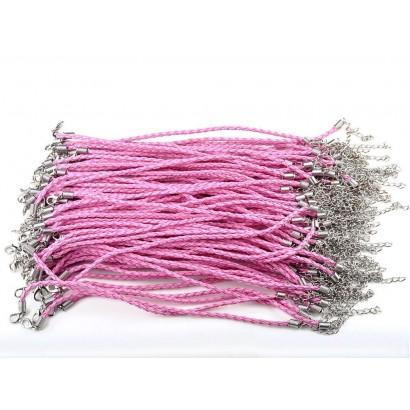 Koženkový splétaný náramek růžový