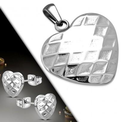 Souprava šperků z chirurgické oceli srdíčka