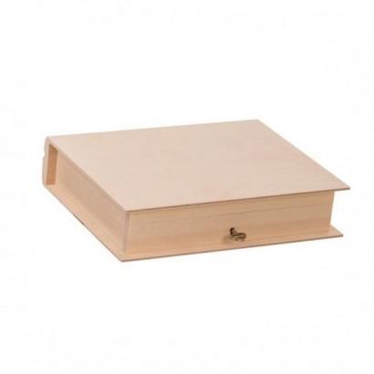 Dřevěná krabička kniha na klíček