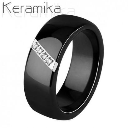 Keramický prsten černý, šíře 8 mm, vel. 52