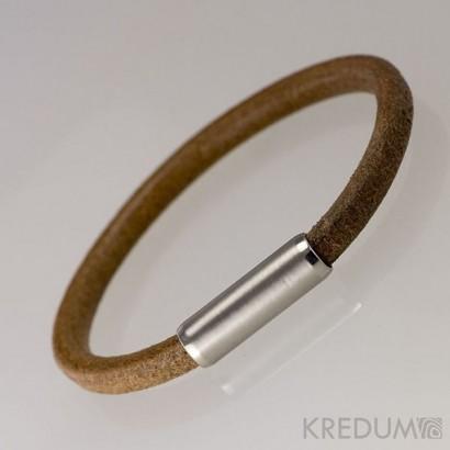 Kožený náramek - ocelový korálek, tl. 5 mm, délka 20 cm