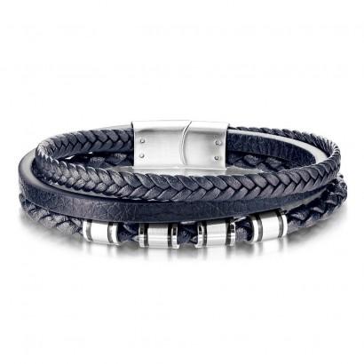 Modrý kožený náramek s ocelovými komponenty, délka 21,5 cm