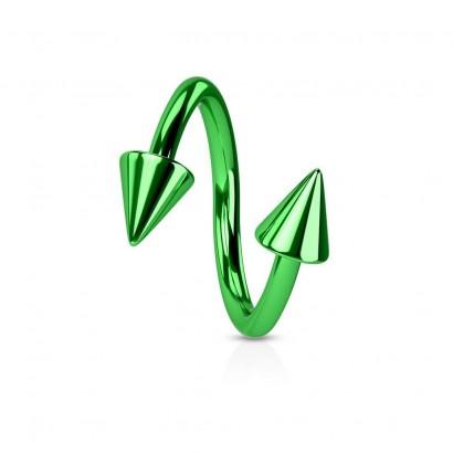 Piercing spirála světle zelená 1,2 x 10 mm