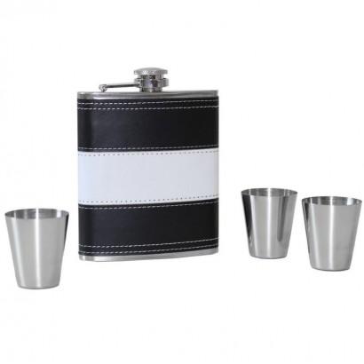 Ocelová kapesní lahev - dárková sada