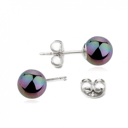Stříbrné náušnice - duhové perly 6 mm