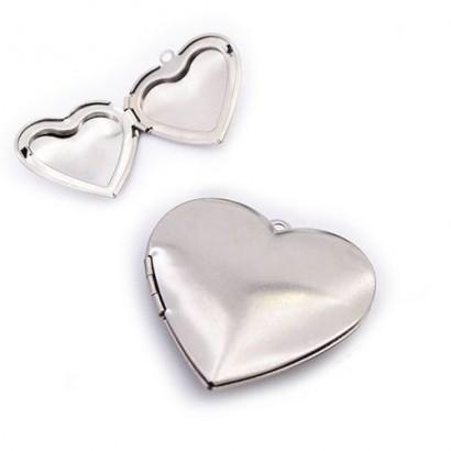 Ocelový přívěsek - srdce medailon otevírací