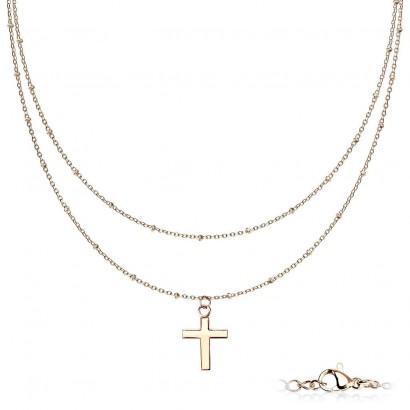 Dvojitý ocelový náhrdelník s křížkem zlacený