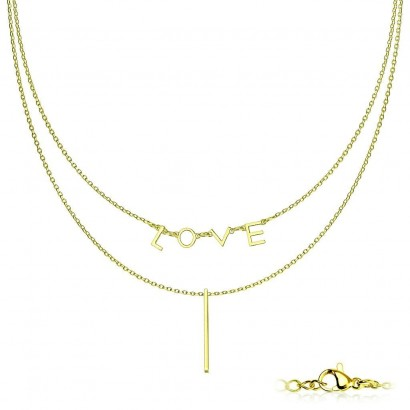 """Dvojitý ocelový náhrdelník """"LOVE"""" zlacený"""