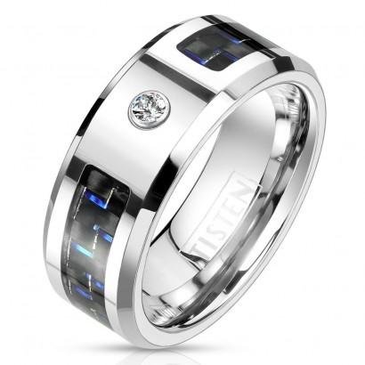 Pánský prsten tisten, modrý karbon (62)