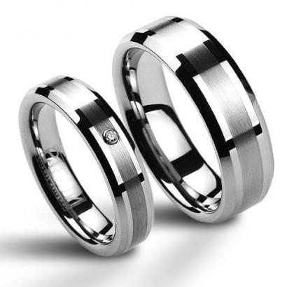 Snubní prsten wolfram - zirkon, šíře 5 mm, vel. 72